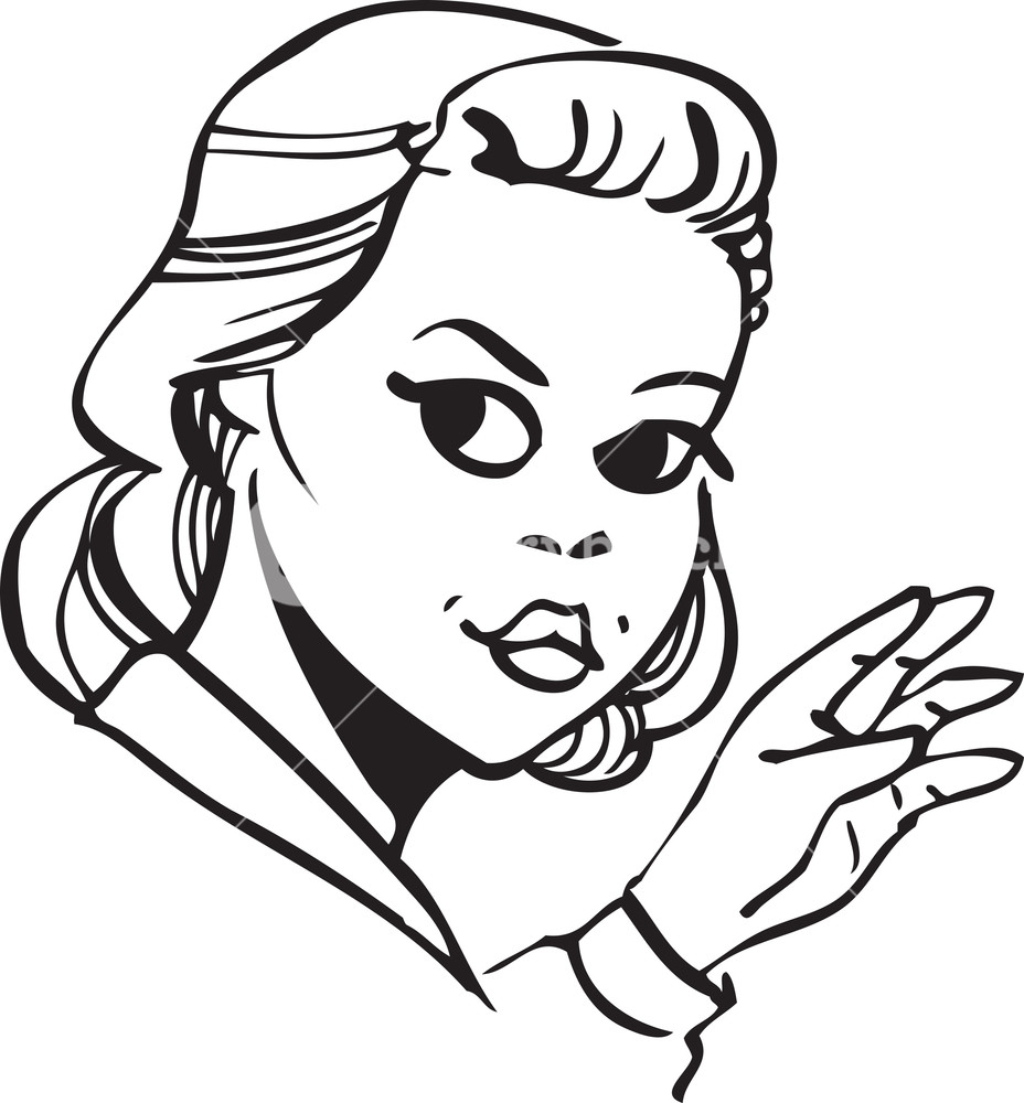 928x1000 Illustration Of A Retro Lady Face. Royalty Free Stock Image