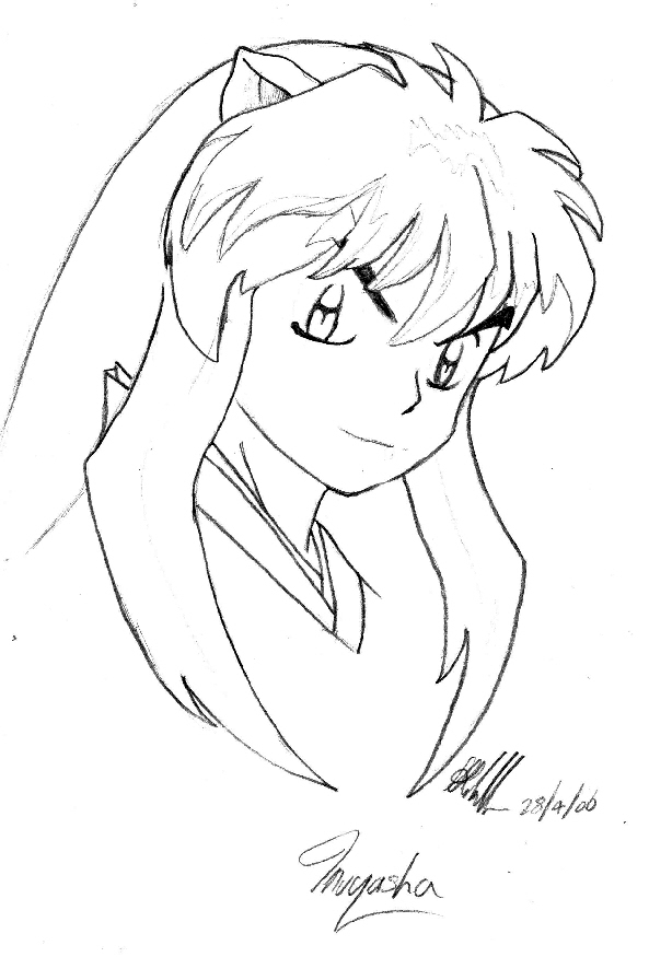593x875 Inuyasha's Face By Lady Dragonstrike