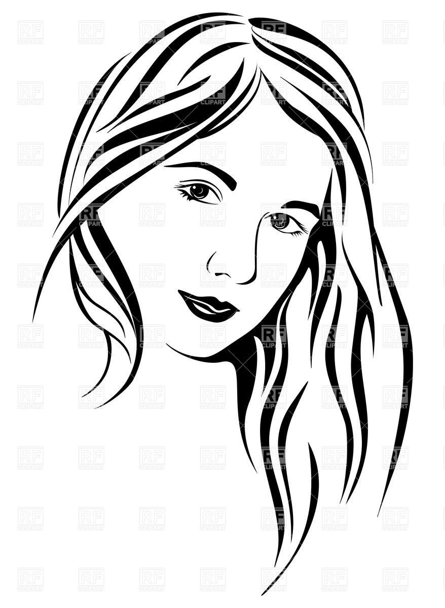 878x1200 Lady Face Clipart Black And White