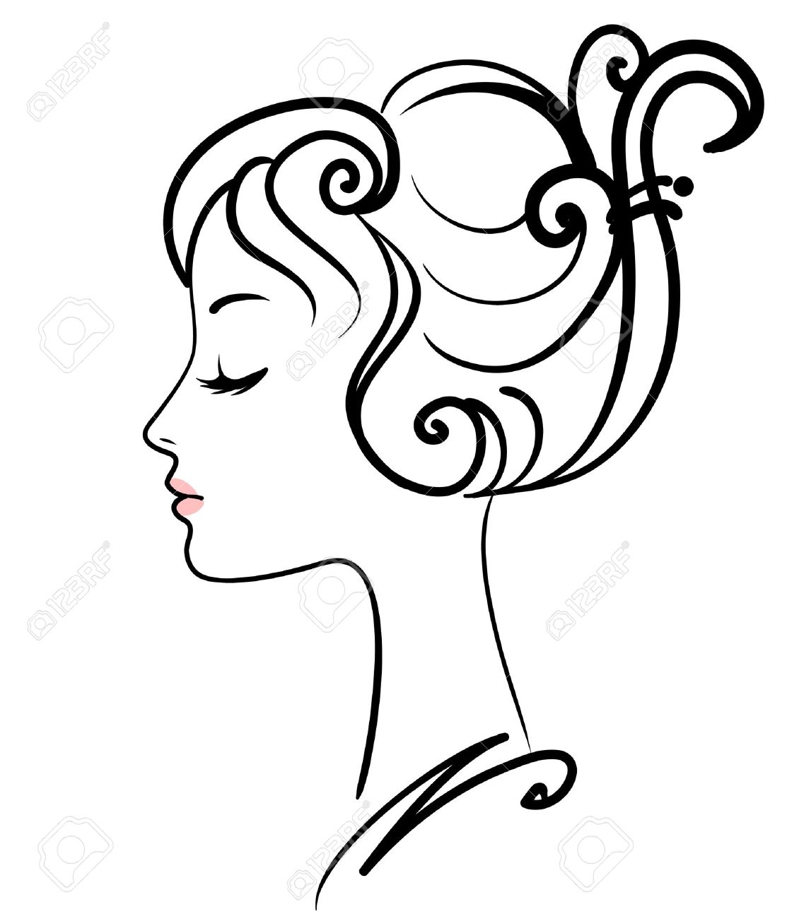 1113x1300 Beautiful Girl Face Vector Illustration Royalty Free Cliparts