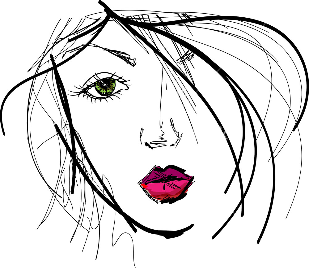 1000x866 Sketch Of Beautiful Woman Face. Vector Illustration Stock Image