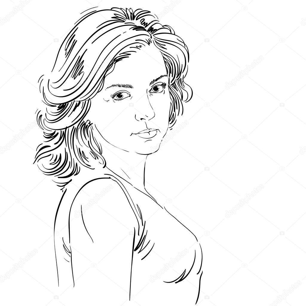1024x1024 Sketch Portrait Of Beautiful Confident Woman Stock Vector