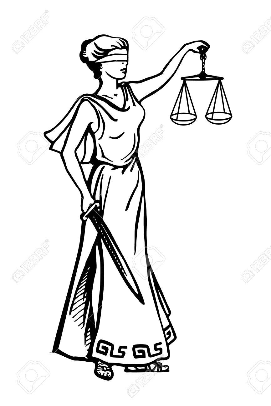 866x1300 Illustration Of Lady Justice Holding Scales And Sword And Wearing