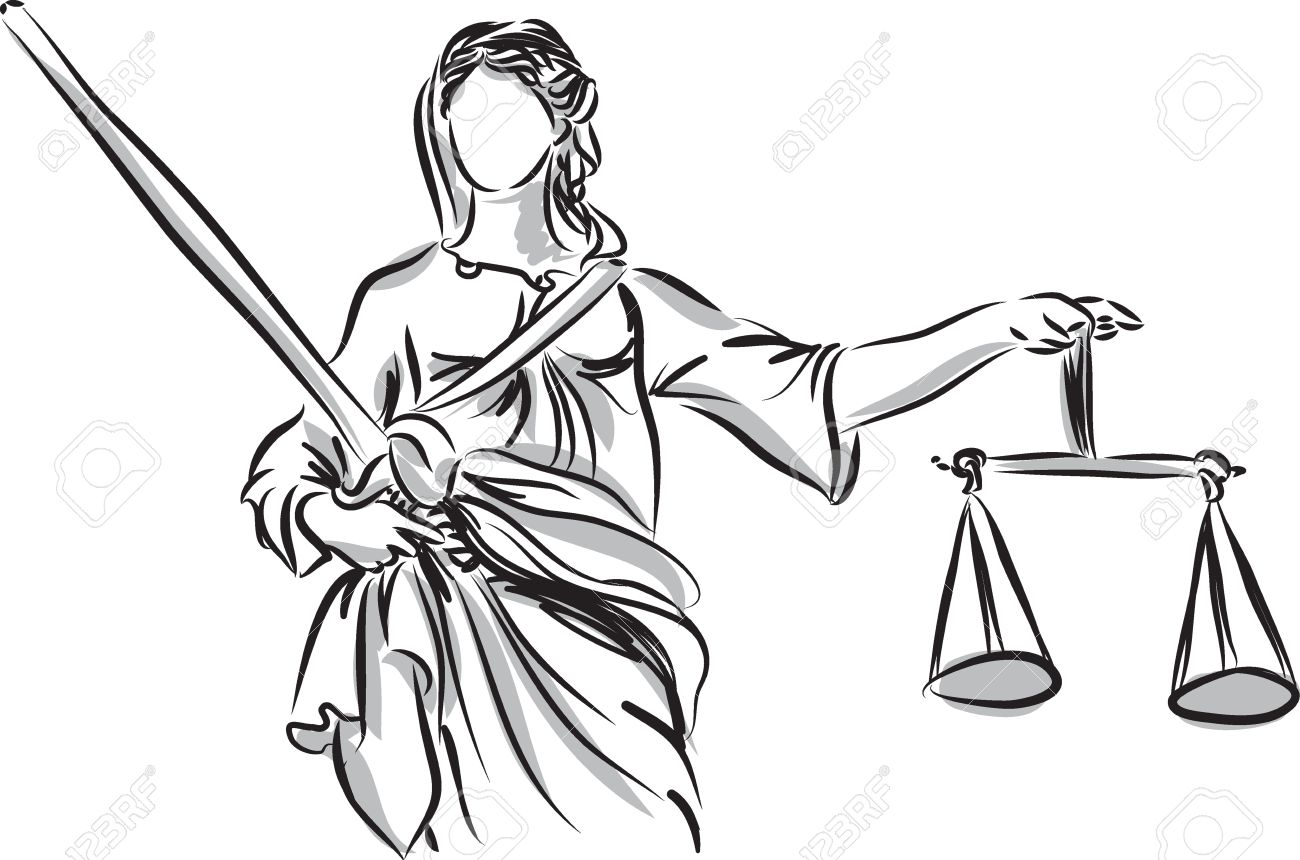 1300x860 Lady Justice Sculpture Illustration Royalty Free Cliparts, Vectors