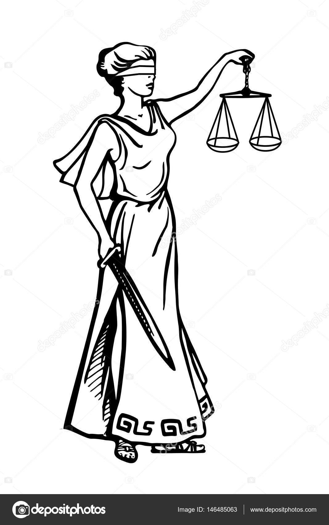 1067x1700 Lady Justice Holding Scales And Sword Stock Vector Tinkerfrost