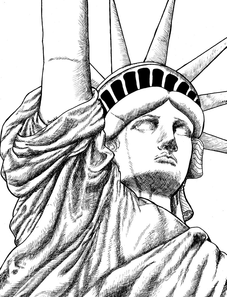 781x1022 Statue Of Liberty Face Drawing Outline