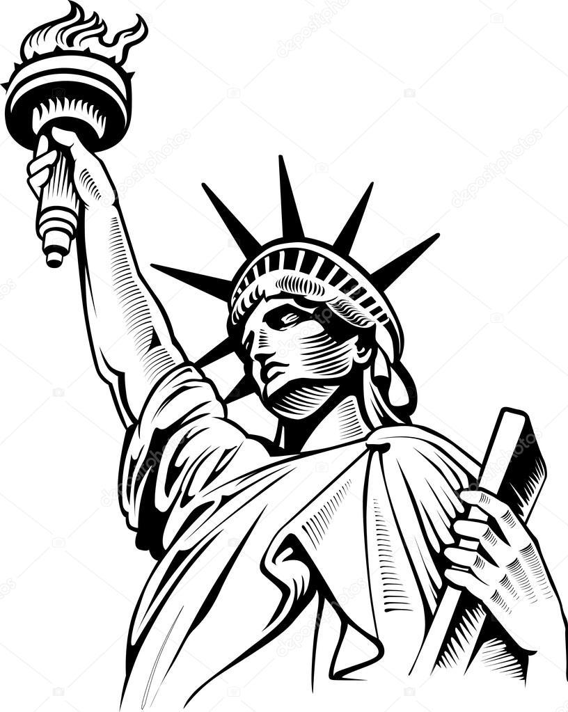 816x1023 Statue Of Liberty, New York, Usa Stock Vector Volod2943