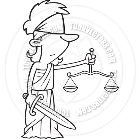 460x460 Cartoon Lady Justice With Blindfold (Black Amp White Line Art) By