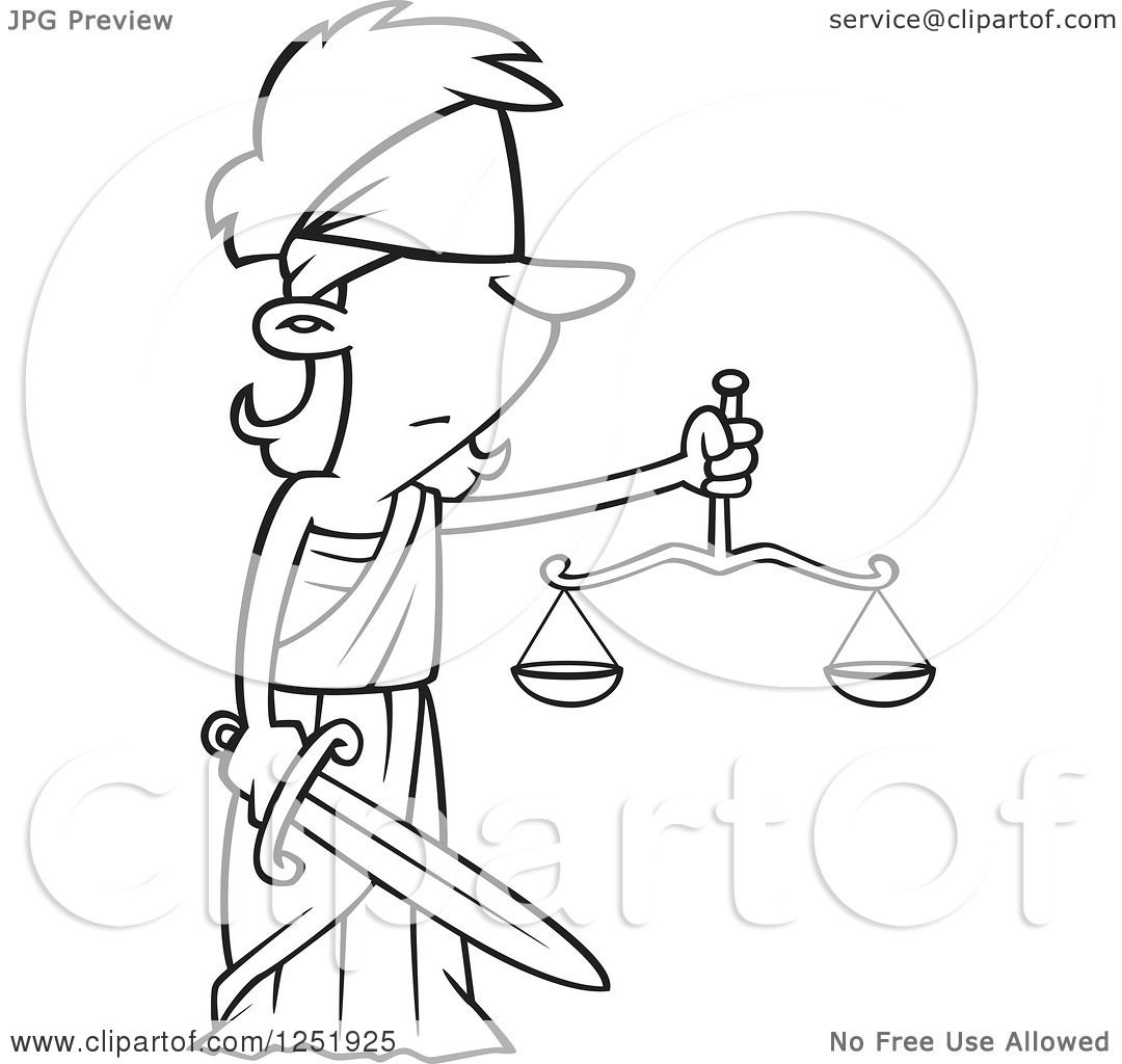1080x1024 Clipart Of A Black And White Cartoon Lady Justice Blindfolded