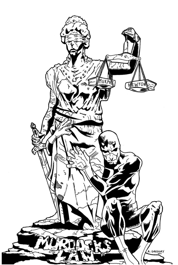 734x1088 Daredevil And Lady Justice By Ashedgreg