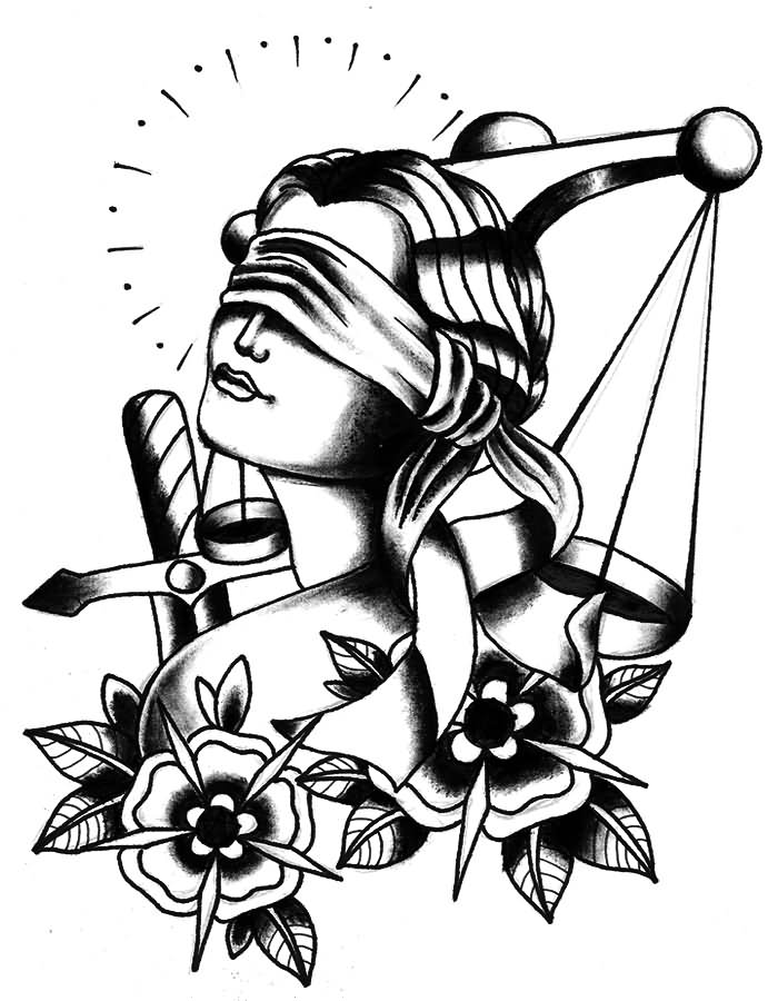 700x900 Lady Justice With Flowers Tattoo Stencil Girl Head Tattoo