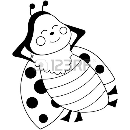 450x450 A Vector Cartoon Ladybug With Book. Black And White Ladybug Vector