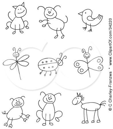 394x450 Clipart Illustration Of A Stick Figure Cat, Dog, Bird, Dragonfly