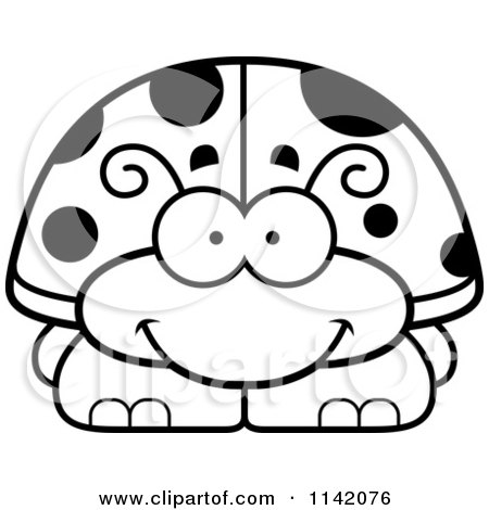 450x470 Cartoon Clipart Of A Black And White Happy Ladybug