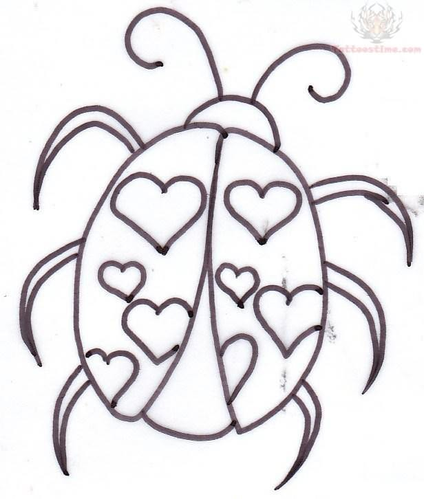 616x726 Ladybug Heart Tattoos Design