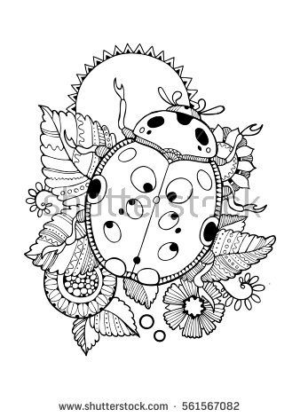 338x470 Ladybug Coloring Book Vector Illustration. Anti Stress Coloring