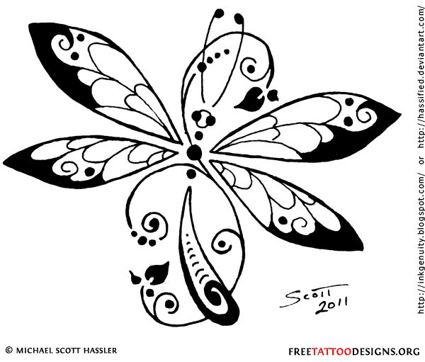 600x511 Tribal Dragonfly Tattoo Design