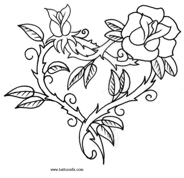 600x581 Rose Heart Patterns Rose, Tattoo And Embroidery