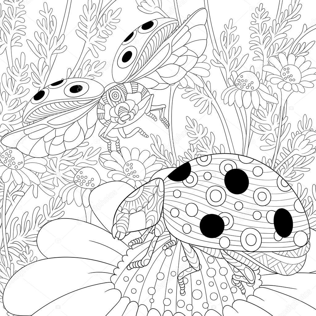 1024x1024 Zentangle Stylized Two Ladybugs Stock Vector Sybirko