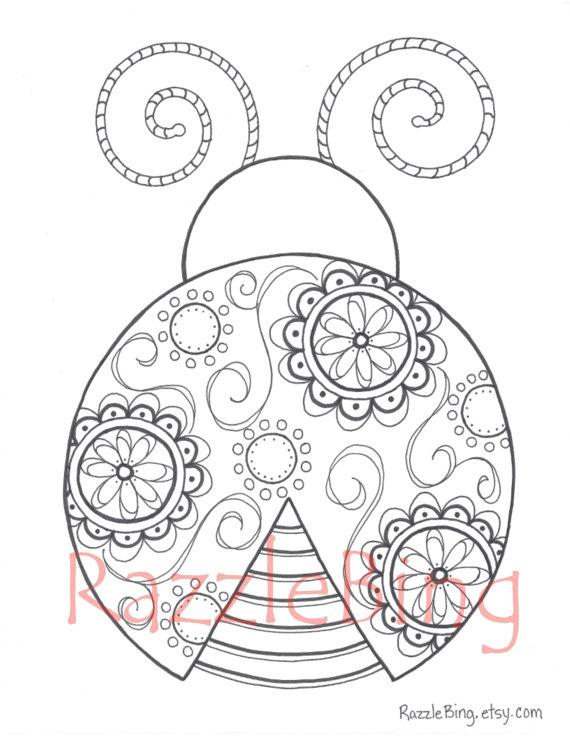 570x738 Diy Printable Coloring Page Zentangle Inspired Lady Bug Swirl