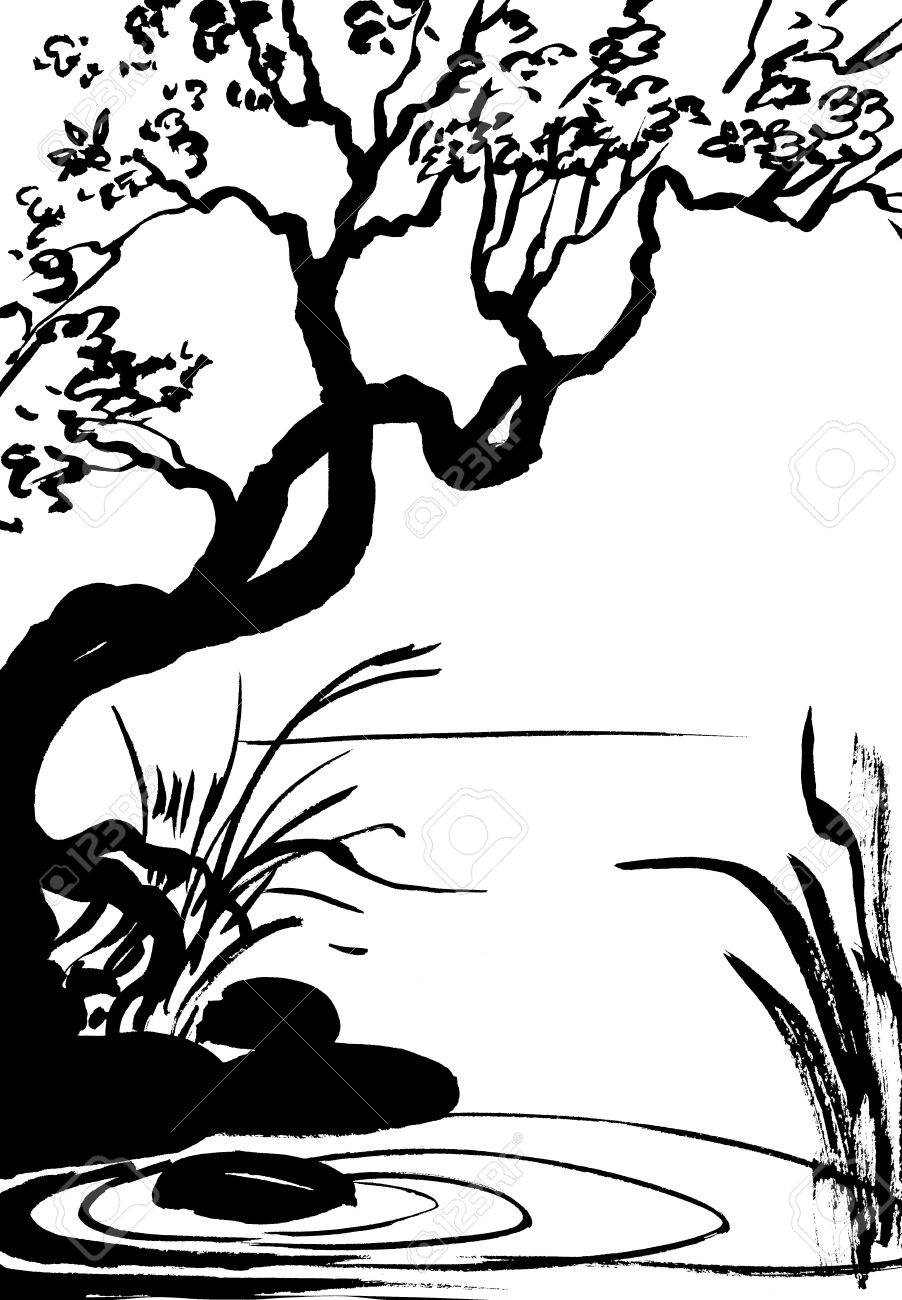 902x1300 Illustration, Sketch Of Nature, Swamp, Tree, River, Lake Stock