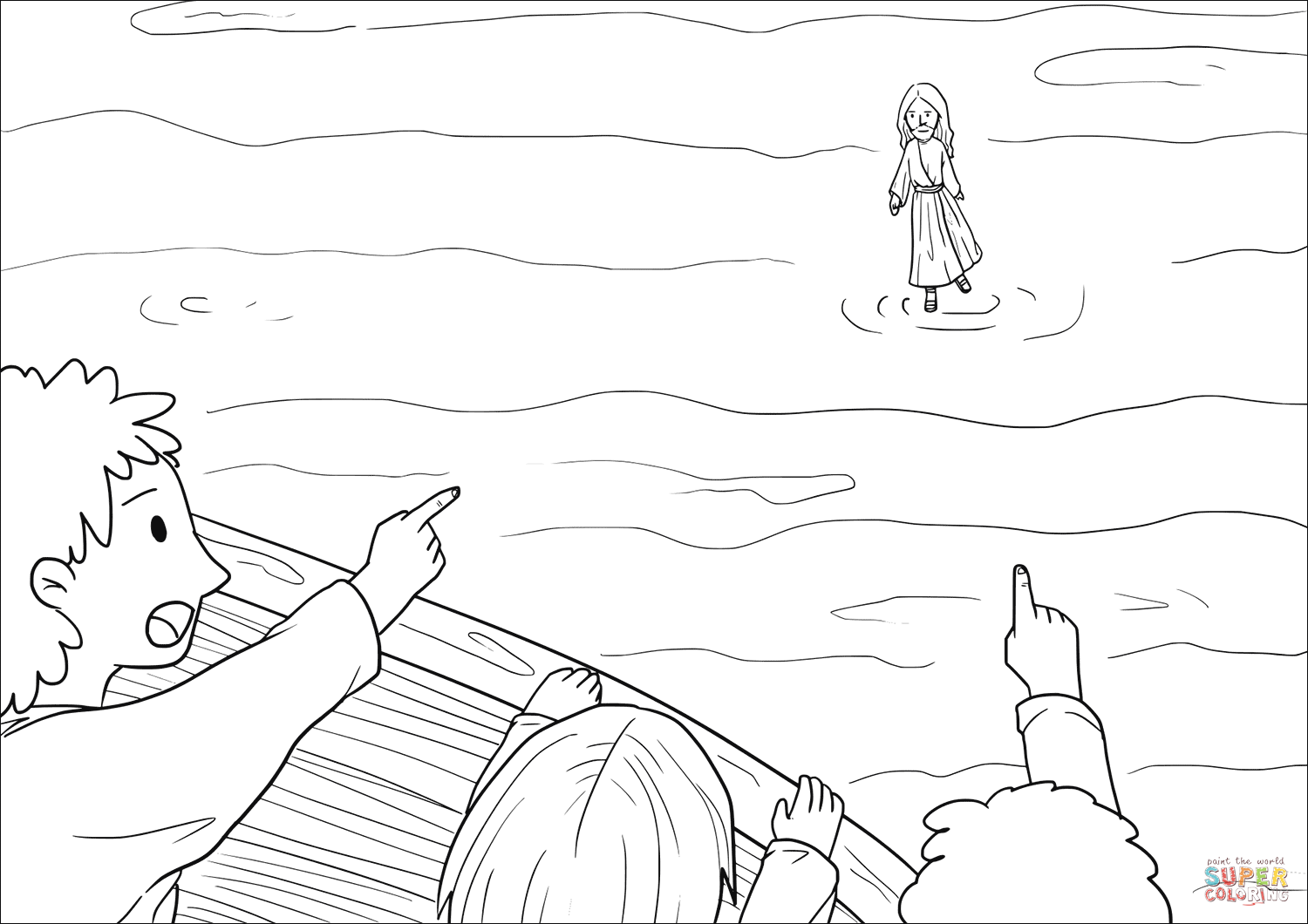 1500x1060 Jesus Went Out To The Disciples, Walking On The Lake Coloring Page