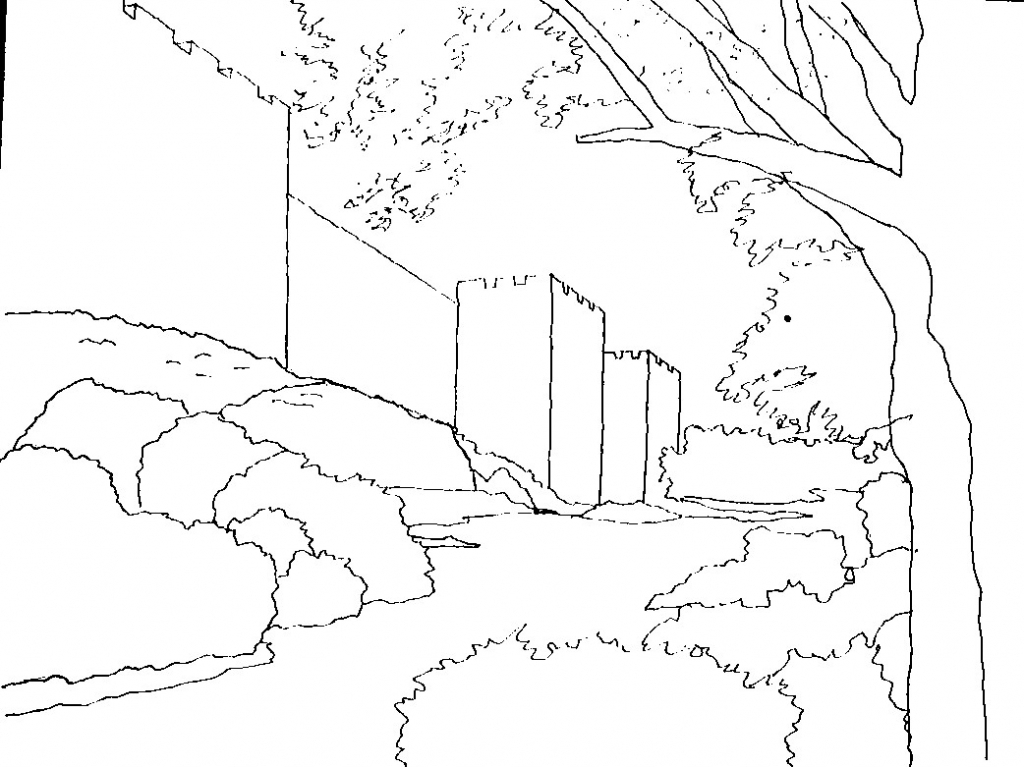 1024x767 Line Drawing Landscape How To Draw A Lake Step Step Landscapes
