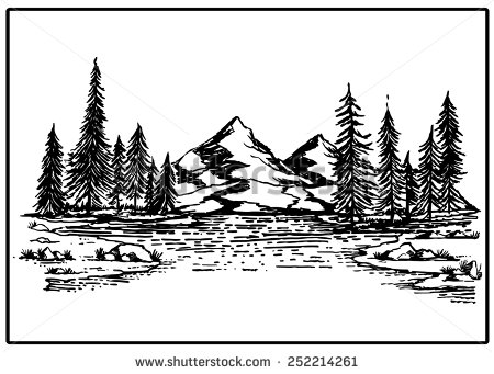450x341 Mountain Lake Forest Ltbgtpineltgt Ltbgttreesltgt Rock Vector