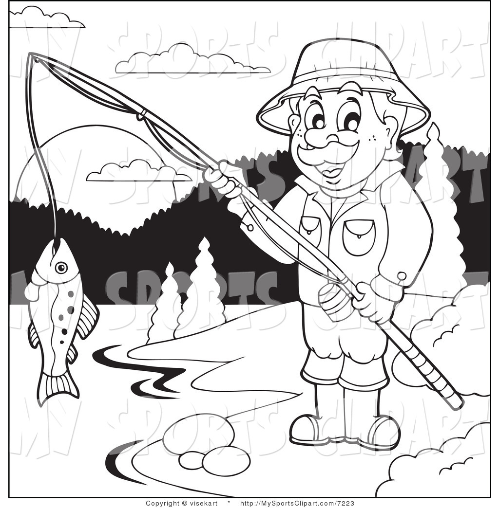 1024x1044 Sports Clip Art of a Man Fishing