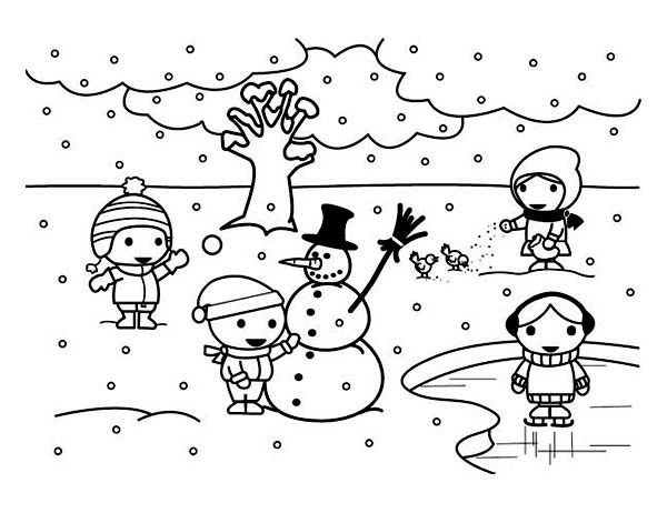 600x462 Childrens Playing Mr Snowman On Frozen Winter Season Lake Coloring