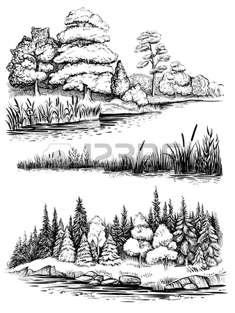 338x450 River Bank Panorama. Nature Artistic Sketch, Relaxation
