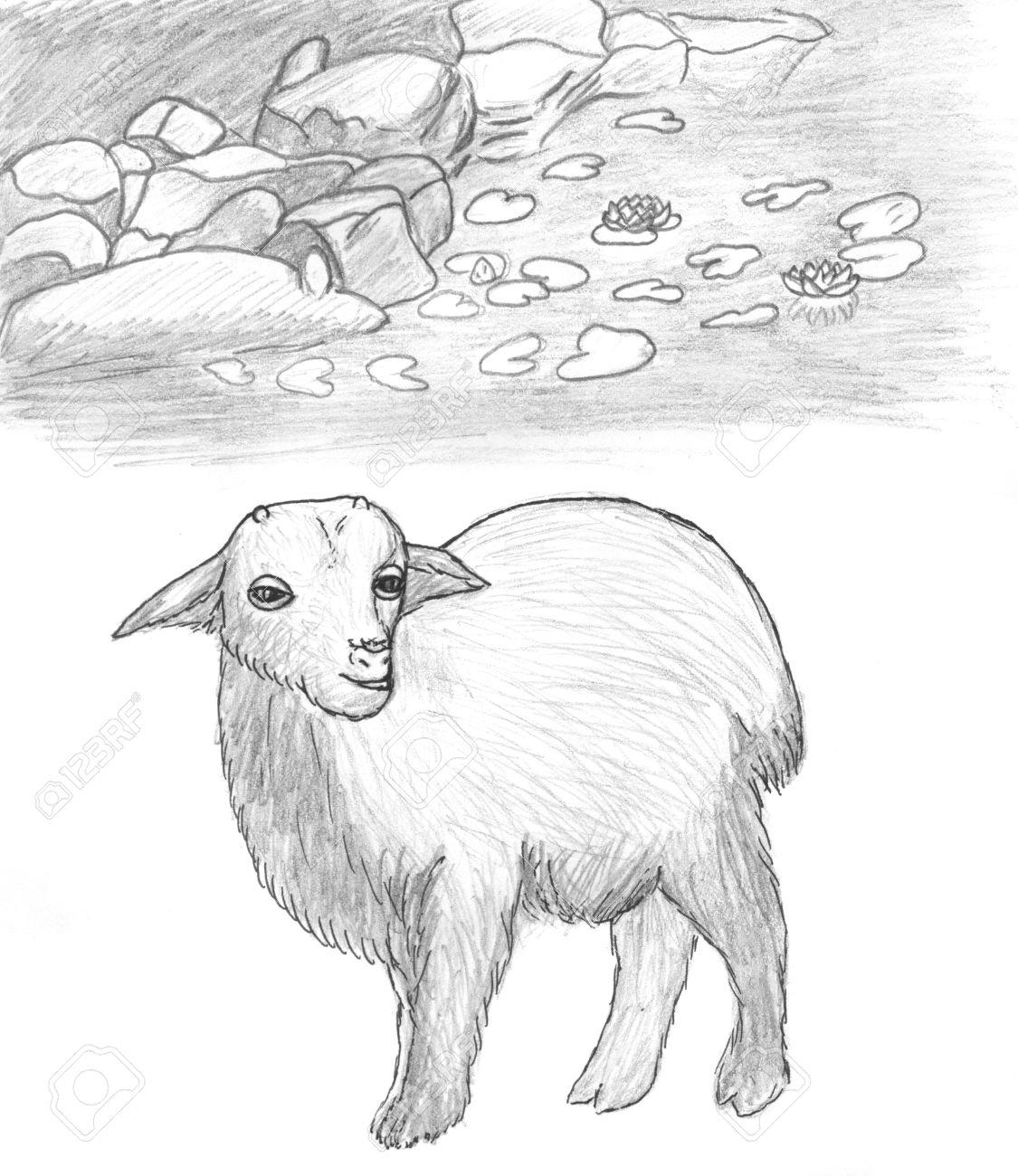 1125x1300 Animals Near The Lake Pencil Drawing