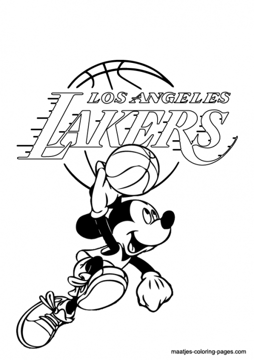 506x716 La Lakers And Mickey Mouse Coloring Page