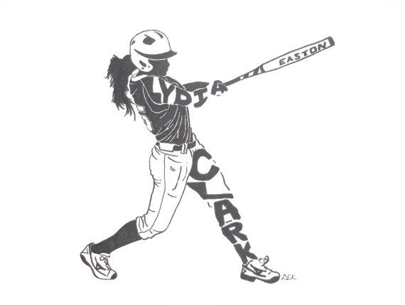 570x429 Women's Softball Silhouette