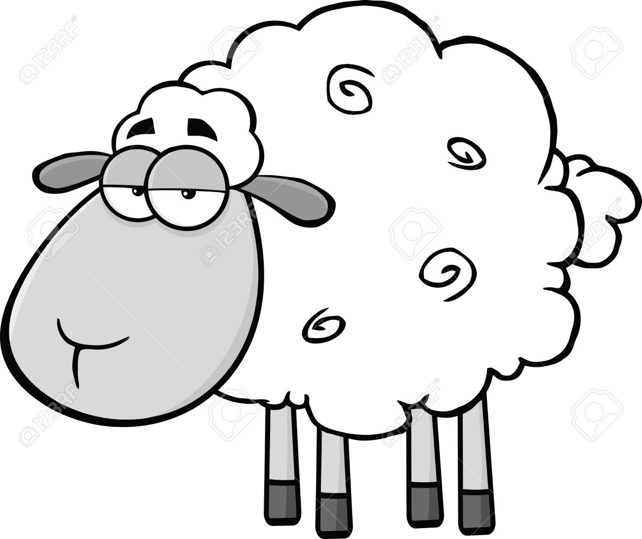 1300x1092 25203631 Cute Sheep Cartoon Mascot Characterin Gray Color