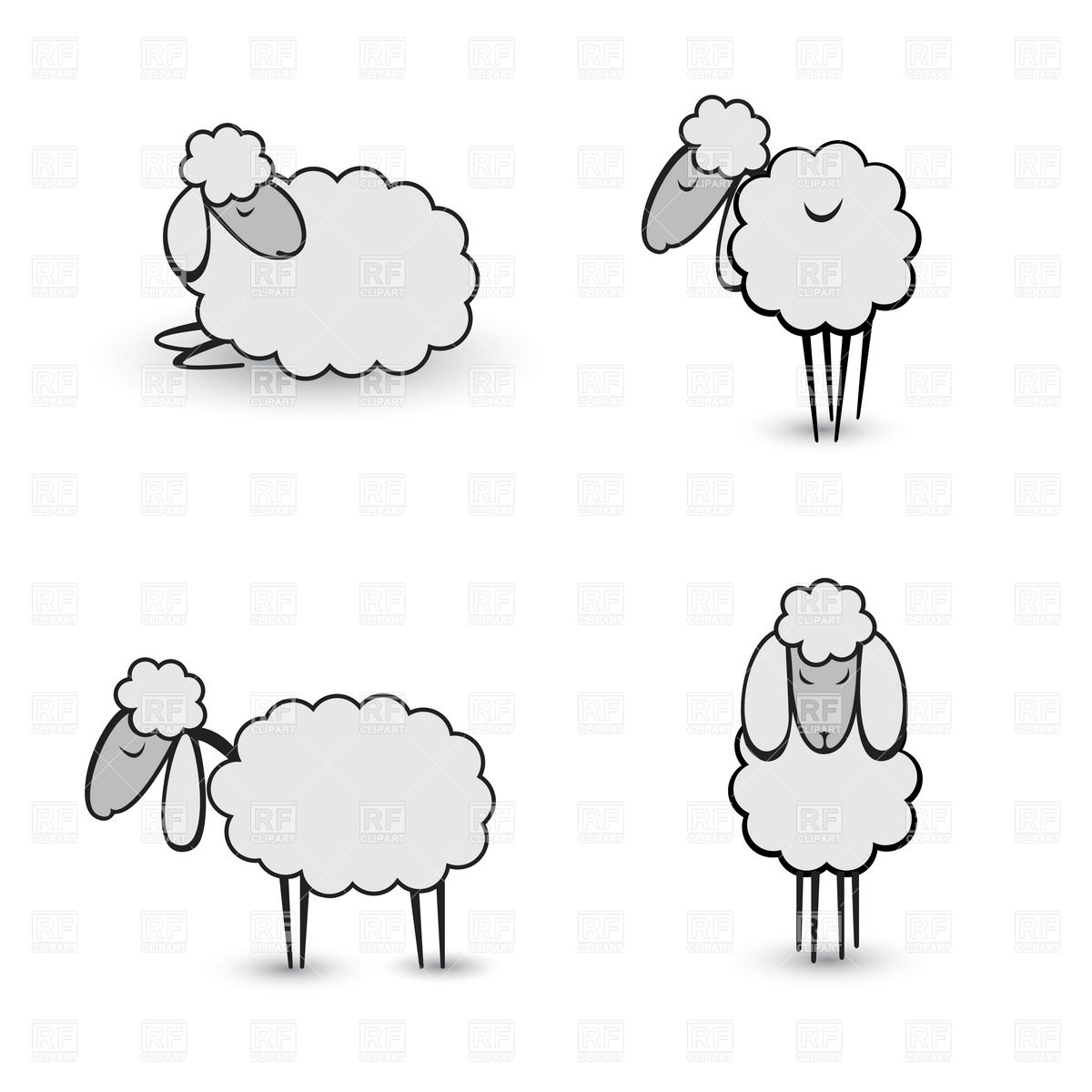 1200x1200 Cartoon Gray Sheep Or Lamb Royalty Free Vector Clip Art Image
