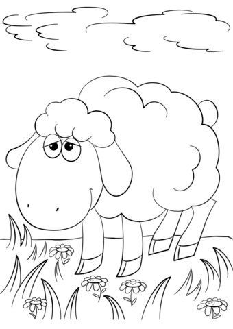 340x480 Cute Cartoon Lamb Coloring Page Free Printable Pages