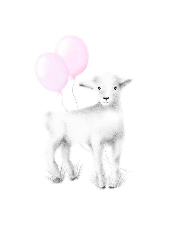 570x738 Lamb Nursery Art Prints Set Of 4 Lamb Drawings Farm Prints