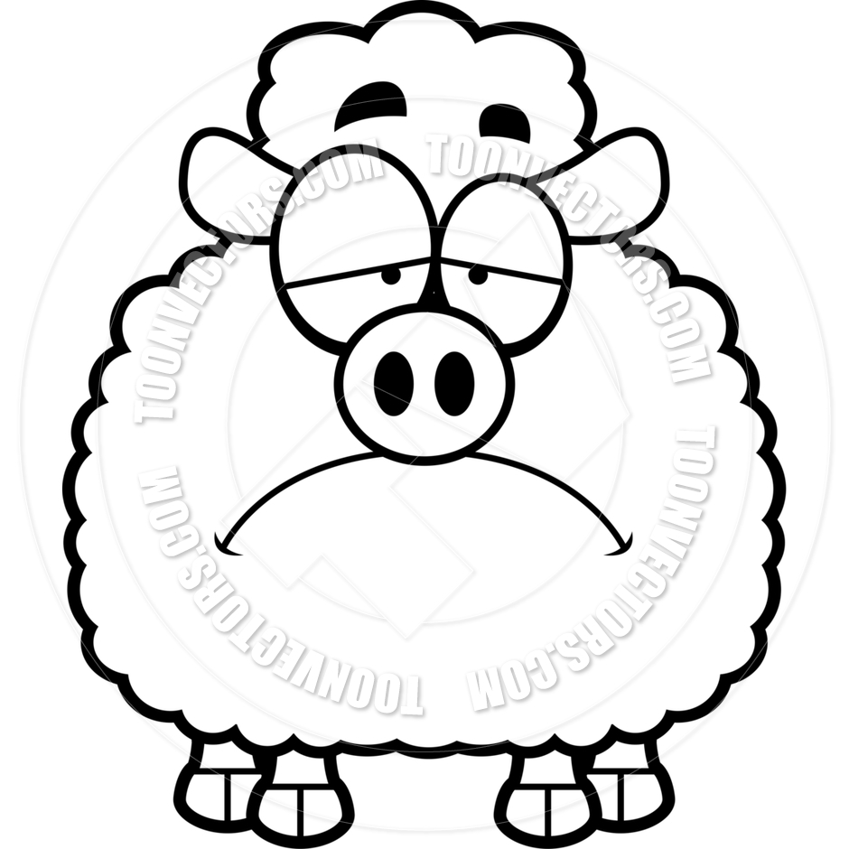 940x940 Cartoon Little Lamb Sad (Black And White Line Art) By Cory Thoman