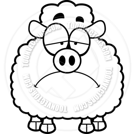 460x460 Cartoon Little Lamb Sad (Black And White Line Art) By Cory Thoman