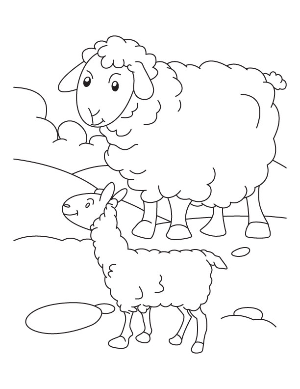 612x792 Mother Sheep With Its Lamb Coloring Page Download Free