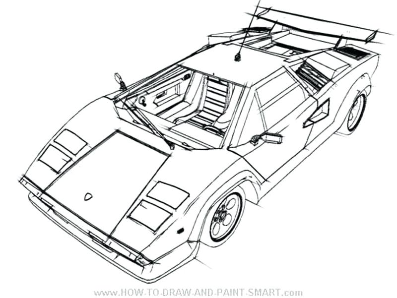 Lamborghini drawing outline at free for for Lamborghini coloring pages to print