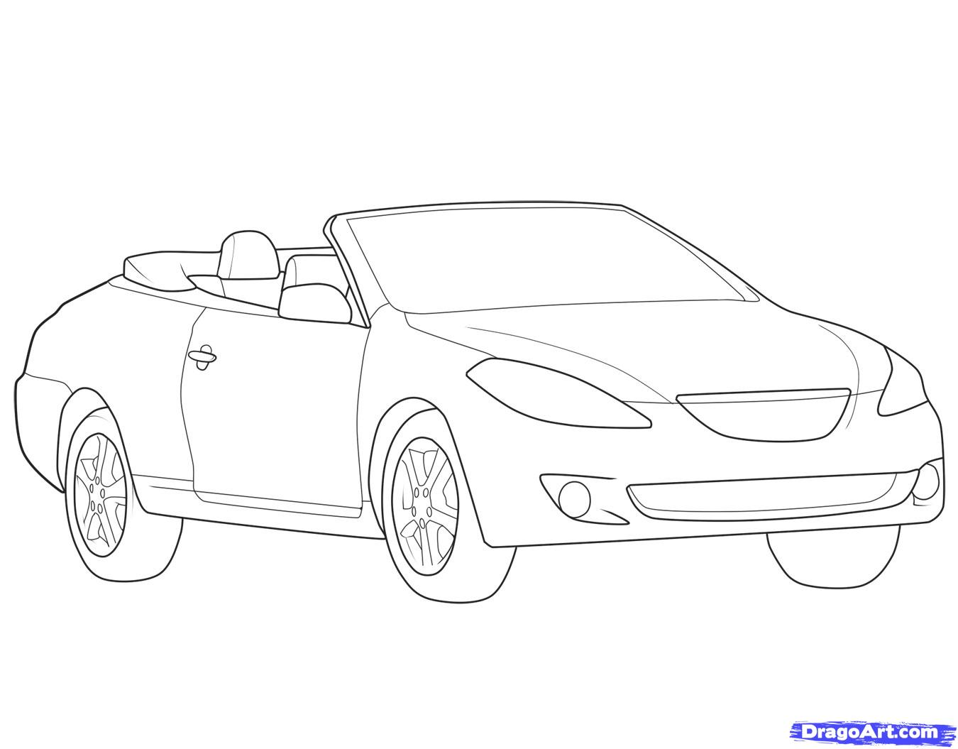 1350x1055 How To Draw The Car A Cabriolet Step By Step