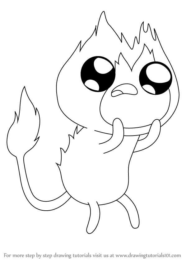 598x844 Learn How To Draw Flambo From Adventure Time (Adventure Time) Step