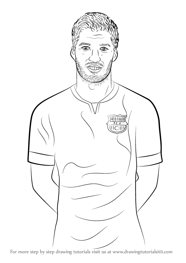 596x843 Learn How To Draw Luis Suarez (Footballers) Step By Step Drawing