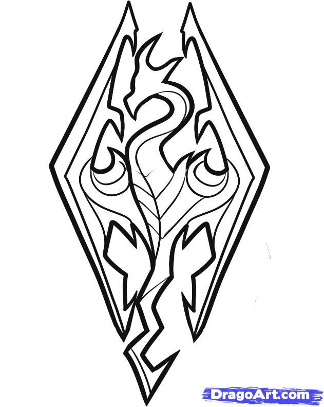 631x792 How To Draw Skyrim, Skyrim Logo, Step By Step, Video Game