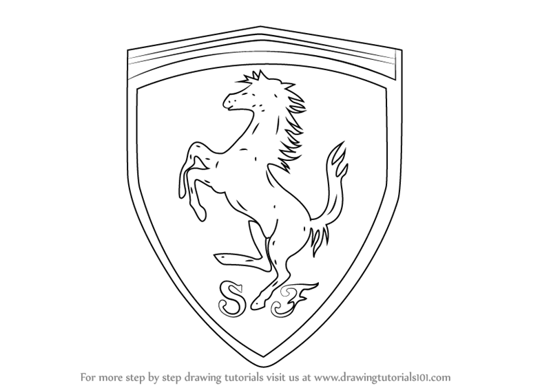 800x564 Learn How To Draw Ferrari Logo (Brand Logos) Step By Step