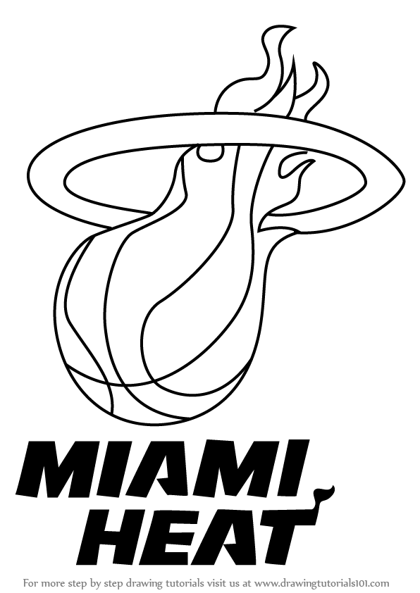 596x842 Learn How To Draw Miami Heat Logo (Nba) Step By Step Drawing