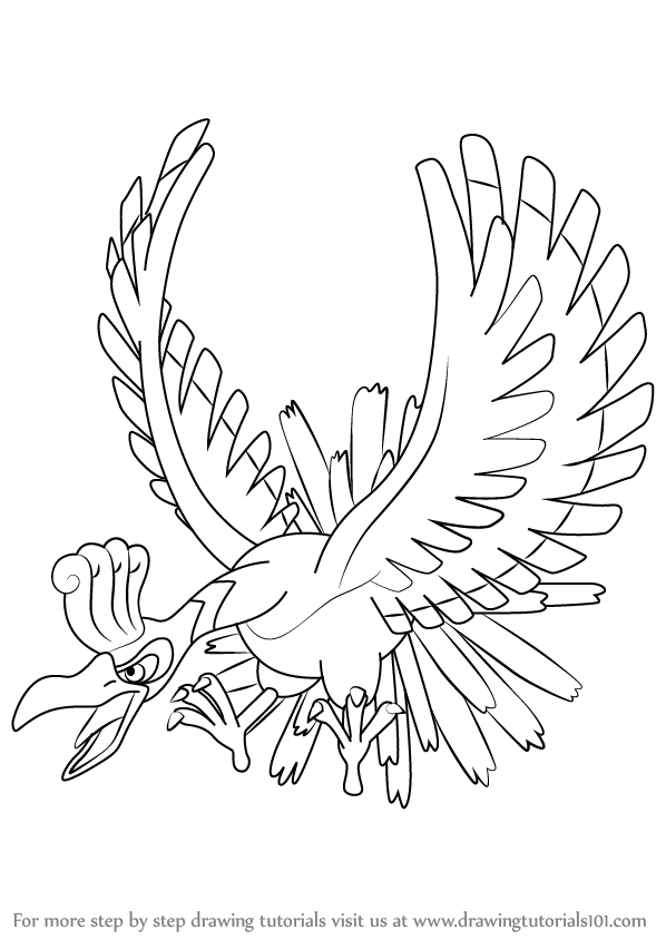 598x844 Learn How To Draw Ho Oh From Pokemon (Pokemon) Step By Step