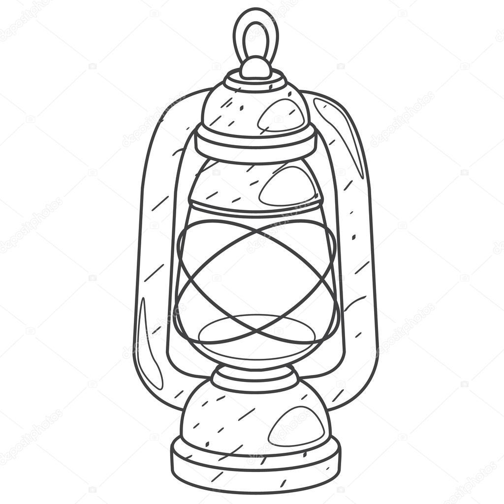 1024x1024 Kerosene Lamp Outline Drawing. Stock Vector Filkusto